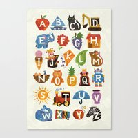 alphabet Canvas Prints featuring Alphabet by WanderingBert / David Creighton-Pester