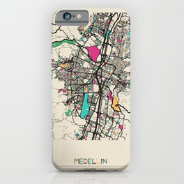Colorful City Maps: Medellin, Colombia iPhone Case
