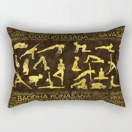 Gold Yoga Asanas / Poses Sanskrit Word Art Rectangular Pillow