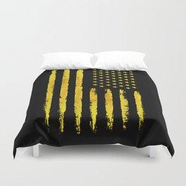 Gold grunge american flag Duvet Cover