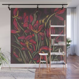 Dying Tulips, Floral Art, Pastel Painting Wall Mural