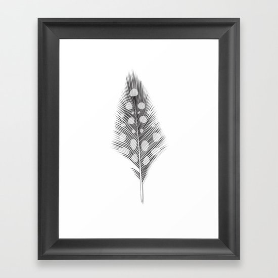Polka Dotted Feather Framed Art Print
