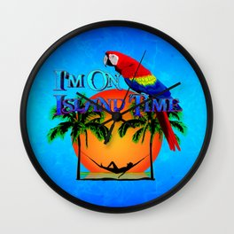 Island Time And Parrot Wall Clock