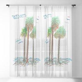 Sabal Palms Of The Bahamas Sheer Curtain