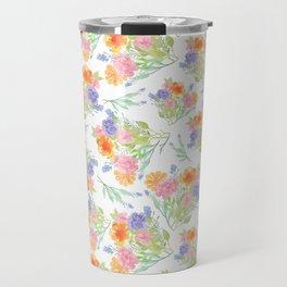 Brighton watercolor flowers, watercolor floral repeat pattern Travel Mug