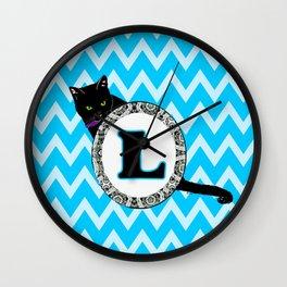 L Cat Chevron Monogram Wall Clock
