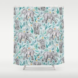 Baby Elephants and Egrets in Watercolor - egg shell blue Shower Curtain