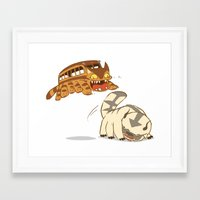 appa Framed Art Prints featuring Catbus vs. Appa by Tami Wicinas