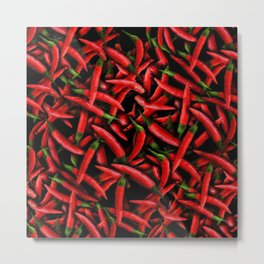Red Chili Peppers Pattern Metal Print