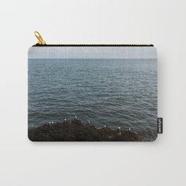Blue Ocean Coast Horizon, Seagulls, Birds on a Rock, Travel Print from Ireland, England, UK | Calming Nature Landscape Wall Decor Carry-All Pouch