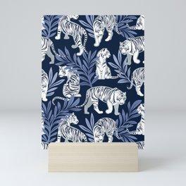 Nouveau white tigers // navy blue background blue leaves silver lines white animal Mini Art Print