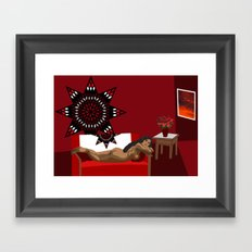 Star Woman Lounging Framed Art Print