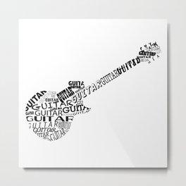Guitar In Text Metal Print