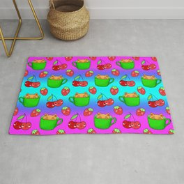 Cute happy funny Kawaii baby kittens sitting in little green espresso coffee cups, ripe red summer cherries and strawberries fruity colorful rainbow blue and pink design. Rug