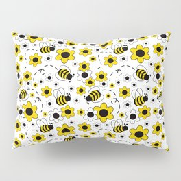 Honey Bumble Bee Yellow Floral Pattern Pillow Sham