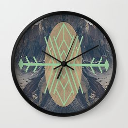 Mountains With Green Wall Clock