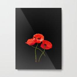 3 Poppies on Black Metal Print