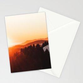 Red Orange Sunrise Parallax Mountains Pine tree Silhouette Minimalist Photo Stationery Cards
