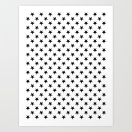 Black on White Stars Art Print