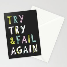 Try & Fail, Try Again Stationery Cards