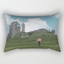 Corfe Castle and the Sky medieval Rectangular Pillow