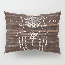 Triple Goddess - Flower of Life - Moon Phase - Shaman - Tribal - Sri Yantra - Brown Marble - Wood - Pillow Sham