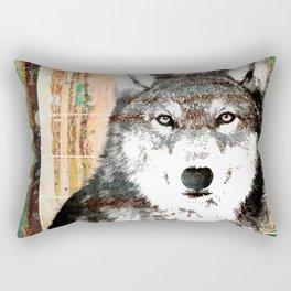 Industrial Woodland Wolf Rectangular Pillow