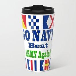 Go Navy, Beat Army in Signal Flags Travel Mug