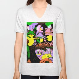 Frog Family and Rainbow Waterfall Abstract 2 Unisex V-Neck