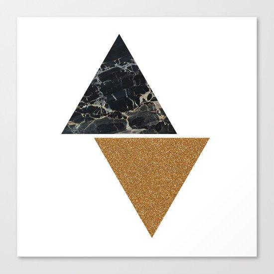 Dark marble and bronze geo Canvas Print