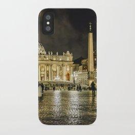Saint Peters Basilica Winter Night Scene, Rome, Italy iPhone Case