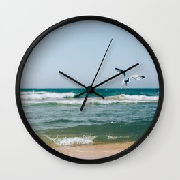 Gull Flight Over Lake Michigan Wall Clock