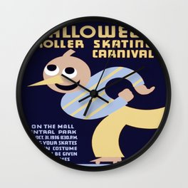 Vintage poster - Halloween Roller Skating Carnival Wall Clock