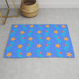 Blue Seahorses And Starfish Pattern Rug