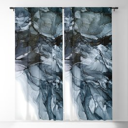 Dark Payne's Grey Flowing Abstract Painting Blackout Curtain