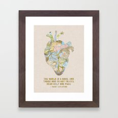 A Traveler's Heart + Quote Framed Art Print