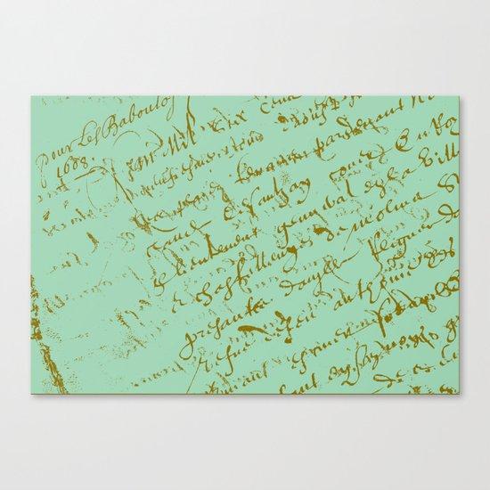 Pistachio French Script Canvas Print