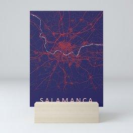 Salamanca, Spain, Blue, White, City, Map Mini Art Print