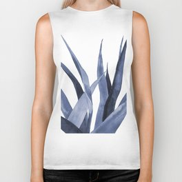 Blue watercolour plant. Biker Tank