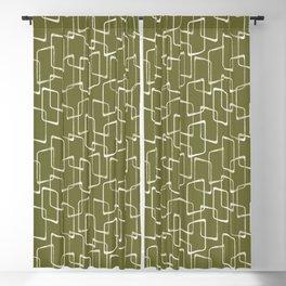 Avocado Green Retro Geometric Pattern Blackout Curtain