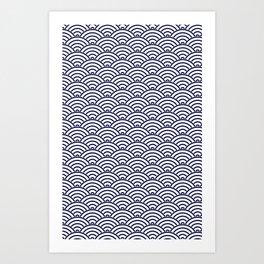 Japanese Koinobori fish scale Delft Blue Art Print
