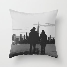 Couple Looking At New York City Skyline Artistic Black And White Throw Pillow