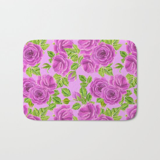 Violet roses watercolor pattern design Bath Mat