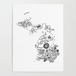 Michigan - Hand Lettered Map Poster
