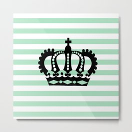 Pastel Goth - Mint Stripes and Crown 1 Metal Print