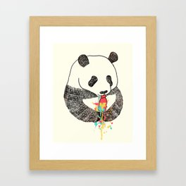 Panda Loves Ice Cream Framed Art Print