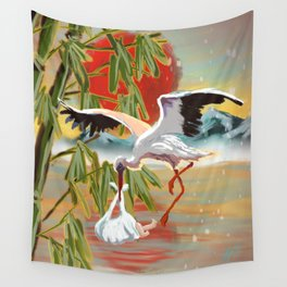 Stork and Baby Wall Tapestry