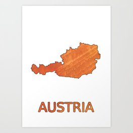 Austria map outline Sunny orange clouded watercolor Art Print