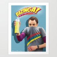 bazinga Art Prints featuring Sheldon  - BAZINGA! by ShannonPosedenti