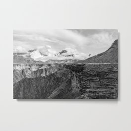 A Ledge on the Tonto Trail - The Grand Canyon - B&W Metal Print